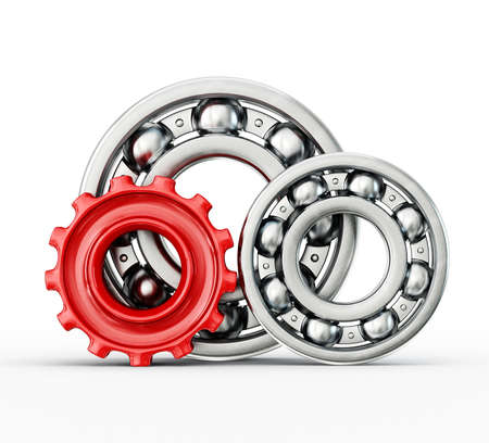 bearing: Ball bearings  isolated on a white background Stock Photo