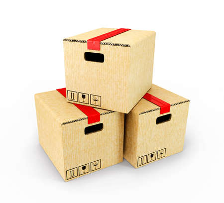 ship parcel: yellow cardboards isolated on a white background