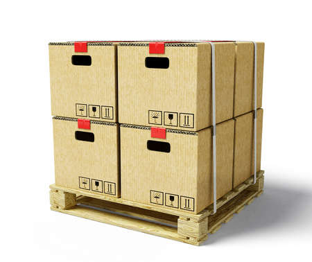 white goods: cardboard on pallet,  isolated on a white background
