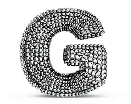 g alphabet: steel letter isolated on a white background