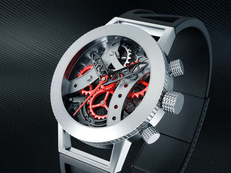 metal gears: skeleton watch isolated on a black background Stock Photo