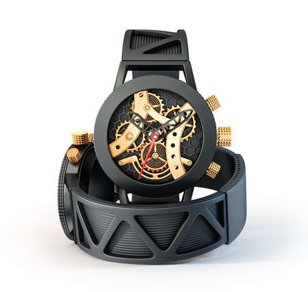 puntualidad: reloj negro aislado en un fondo blanco