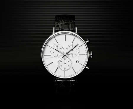 chronograph: modern watch isolated on a black  background