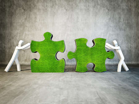 two man building puzzle on concrete background photo