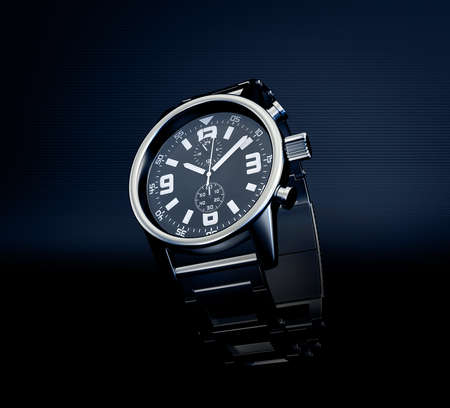 luxury watches: wrist watch isolated on a dark background Stock Photo