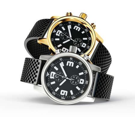 chronograph: wrist watch isolated on a white background Stock Photo