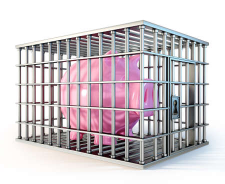 incarceration: piggy in cage isolated on a white background