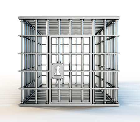 incarceration: steel cage isolated on a white background