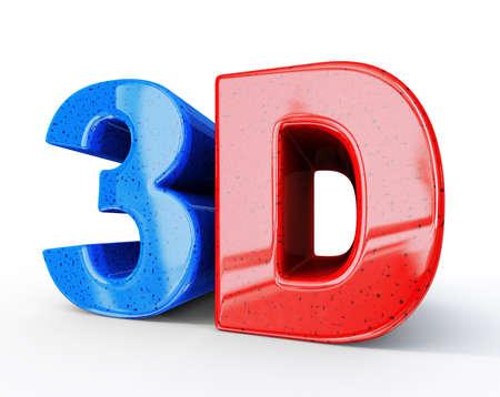 3D Zeichen auf weißem Hintergrund isoliert