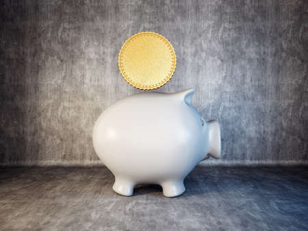 piggy bank isolated on a concrete background photo