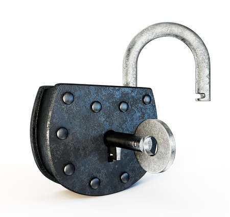 old lock isolated on a white background photo