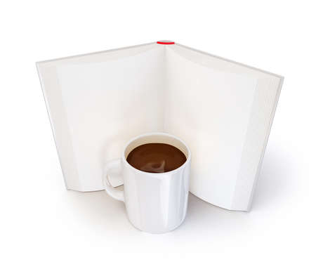 shove: book with a coffee cup isolated on a white