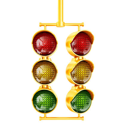 yellow traffic light on a white  background photo
