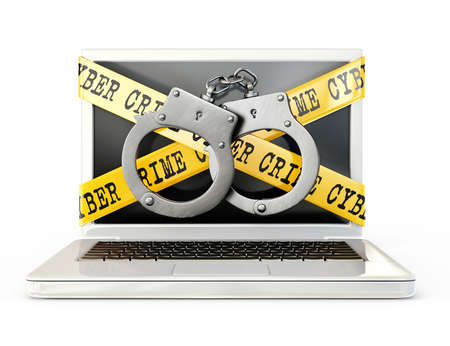 cuff links: cyber crime icon  isolated on a white background Stock Photo