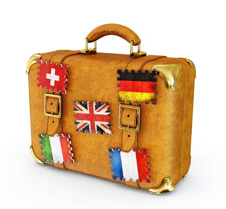 retro suitcase isolated on a white background photo