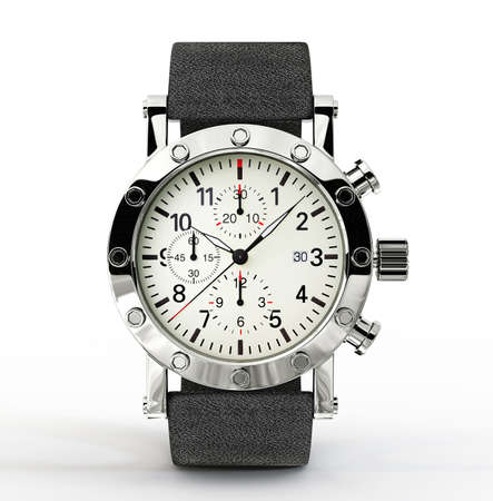 watchmaker: modern watch isolated on a white background