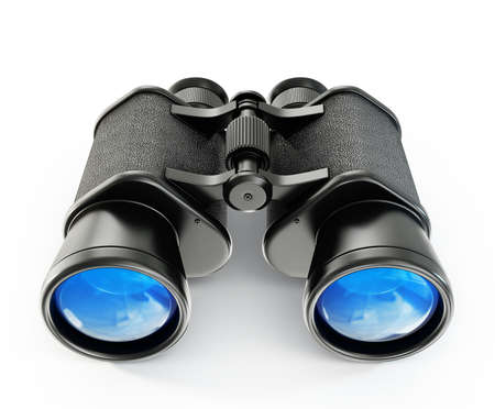 black binoculars isolated on a white background Stock Photo