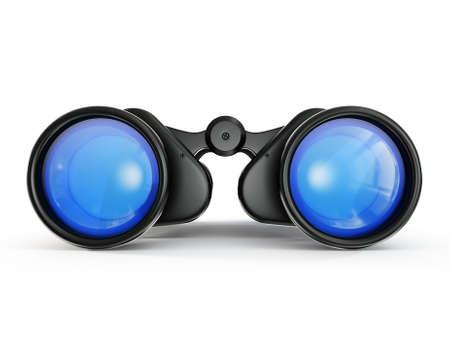 fernrohr: Schwarz Fernglas auf einem weißen Hintergrund isoliert