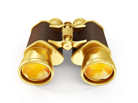 gold  binoculars isolated on a white background