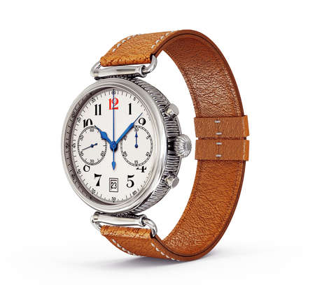 wristlet: classic watch isolated on a white background Stock Photo