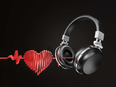 modern headphones isolated on a black background Stock Photo