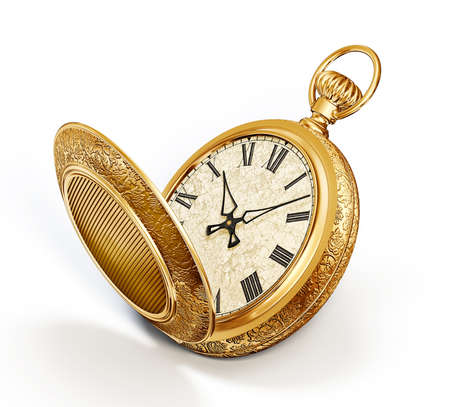 hand in pockets: vintage watch isolated on a white background Stock Photo