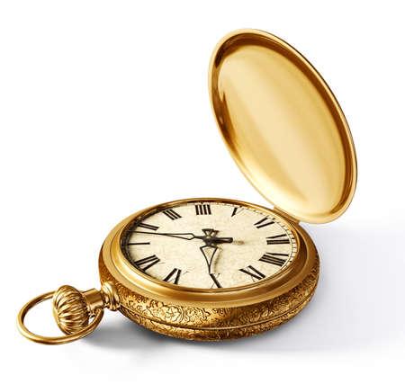흰색 배경에 고립 된 빈티지 시계 스톡 콘텐츠