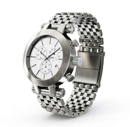 puntualidad: reloj de acero aislado en un fondo blanco
