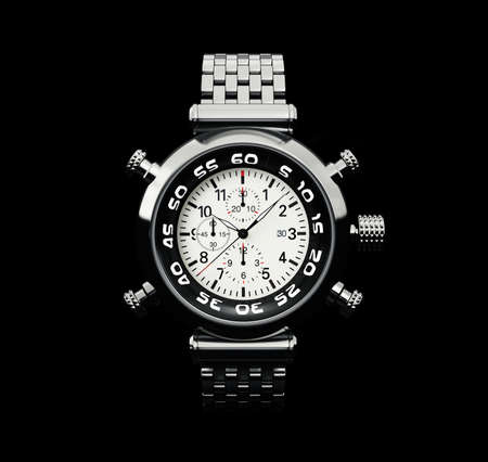 modern watch isolated on a black  background photo