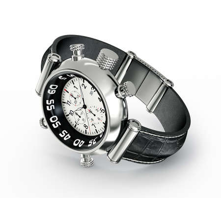 round face: modern watch isolated on a white background