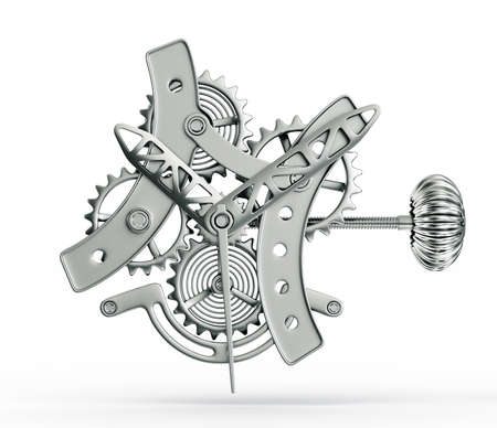 cronógrafo: mecanismo conceptual aislado en un fondo blanco Foto de archivo