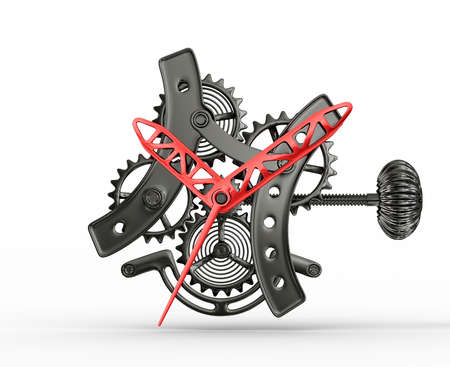 time machine: conceptual  mechanism isolated on a white background