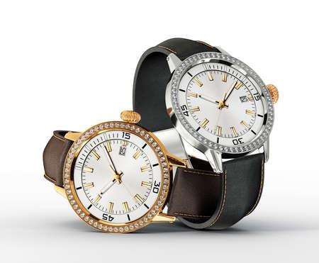 白い背景で隔離のペア腕時計