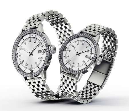 wristlet: modern watches  isolated on a white background Stock Photo
