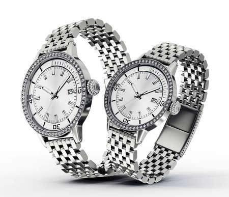 Moderne horloges geïsoleerd op een witte achtergrond Stockfoto - 21321009
