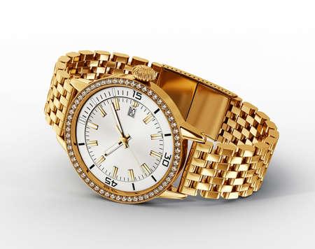 puntualidad: reloj de oro aisladas sobre un fondo blanco Foto de archivo