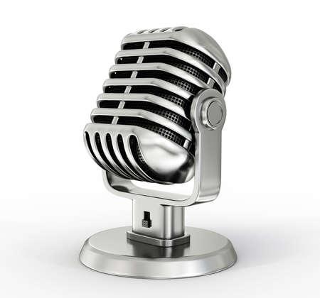 microfono de radio: Micrófono de acero aislado en un fondo blanco