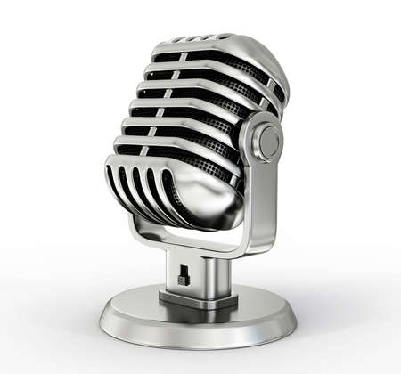 steel microphone isolated on a white background photo