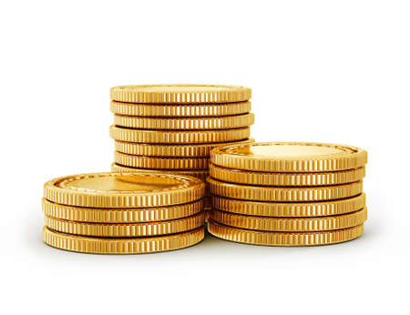 stack of coins: gold coin isolated on a white background