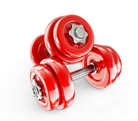 dumbell: Big red dumbbells isolated on a white background