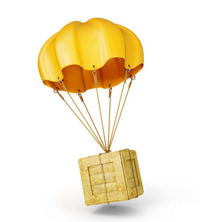 air mail: yellow parachute with wooden box on a white Stock Photo