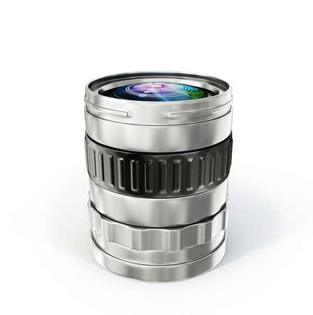 telephoto: photo lens isolated on a white background Stock Photo