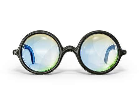 oculista: vidrios del vintage aislados en un fondo blanco