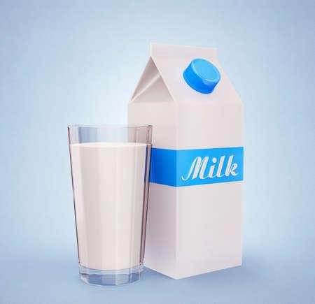 caja de leche: Rectángulo de la leche con una taza de vidrio sobre un fondo azul