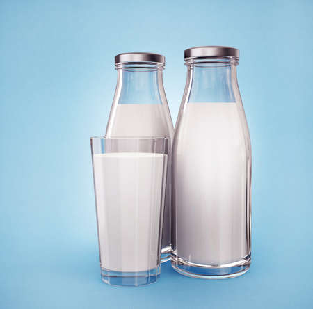 pasteurized: milk in bottles isolated on a blue background