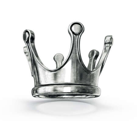 silver jewellery: gold crown isolated on a white background Stock Photo