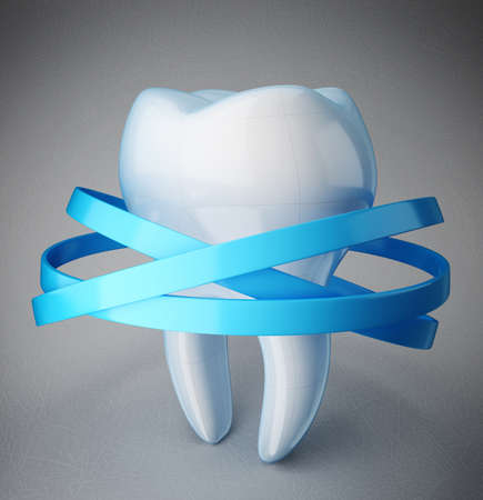white smile: white tooth isolated on a blue background Stock Photo