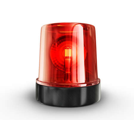 flashing: red siren isolated on a white background