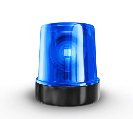 traffic police: blue siren isolated on a white background