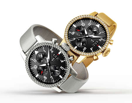 白い背景に分離された現代の時計